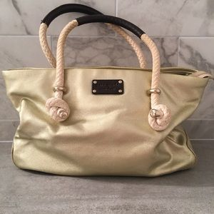 Kate Spade Rope Shoulder Gold Canvas Bag